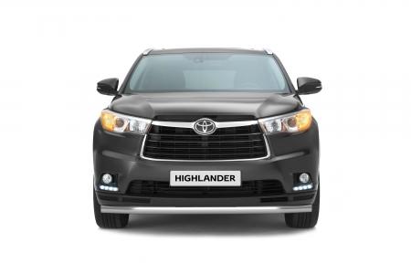 Защита переднего бампера одинарная d63мм Toyota Highlander (нерж) 2014